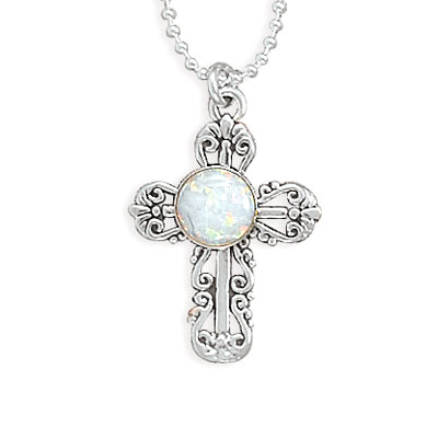 "16"" Synthetic Opal Filigree Cross Necklace 925 Sterling Silver - DISCONTINUED"