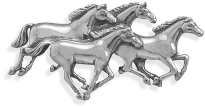 4 Horses Galloping Pin 925 Sterling Silver