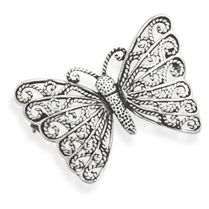 Ornate Butterfly Pin - DISCONTINUED 925 Sterling Silver