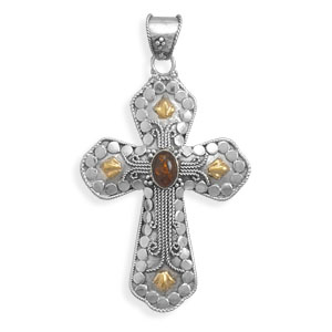 Sterling Silver/14 Karat Gold Plate Cross with Baltic Amber - DISCONTINUED