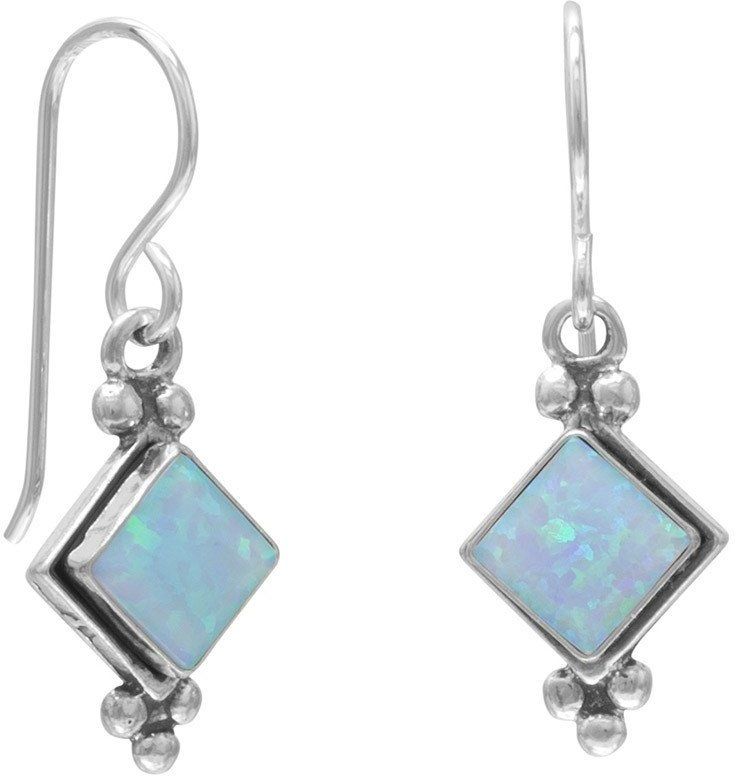 Diamond Shape Synthetic Blue Opal Earrings on French Wire 925 Sterling Silver