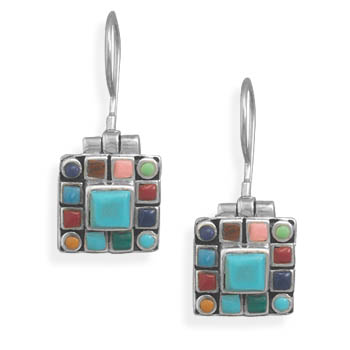 Square Turquoise Multistone Edge Earrings on French Wire 925 Sterling Silver - DISCONTINUED
