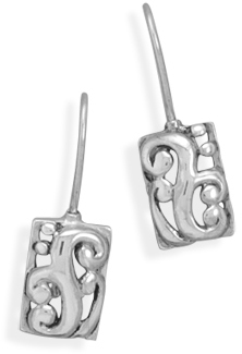 Rectangle Filigree Design Earrings on Wire 925 Sterling Silver - DISCONTINUED