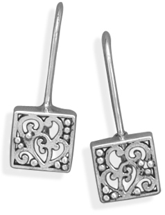 Square Cut Out Filigree Heart Design Earrings 925 Sterling Silver