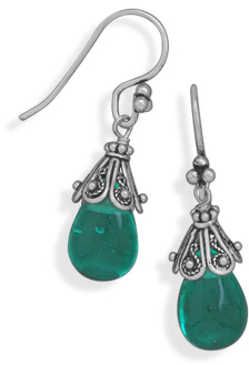 Aqua Glass Drop with Bali Cap Earrings on French Wire 925 Sterling Silver