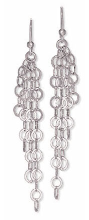 Rhodium Plated Four Strand Graduated Open Link Earrings 925 Sterling Silver- DISCONTINUED