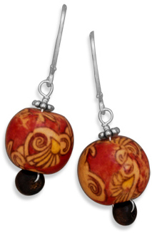 Painted Bamboo Bead Earrings with Lever Back 925 Sterling Silver - DISCONTINUED