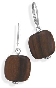Round Wood Disk Earrings with Lever Back 925 Sterling Silver - DISCONTINUED
