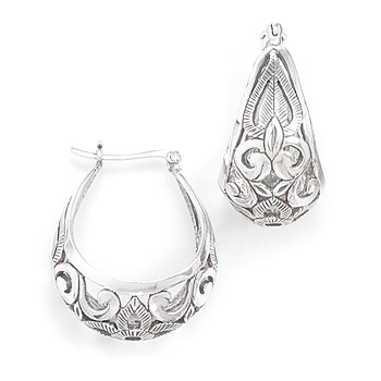 Rhodium Plated Scroll Design Hoop Earrings 925 Sterling Silver - DISCONTINUED