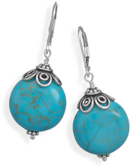 Reconstituted Turquoise Bead Lever Back Earrings 925 Sterling Silver