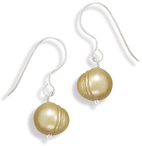 Gold Cultured Freshwater Pearl Earrings on French Wire 925 Sterling Silver
