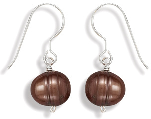 Bronze Cultured Freshwater Pearl Earrings on French Wire 925 Sterling Silver