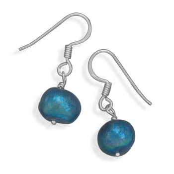 Teal Cultured Freshwater Pearl Earrings on French Wire 925 Sterling Silver - DISCONTINUED