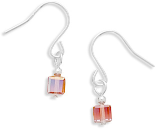 Fuchsia Crystal Cube Earrings on French Wire 925 Sterling Silver