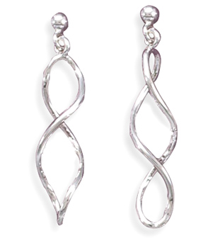 "Twisted ""Figure 8"" Post Earrings 925 Sterling Silver - DISCONTINUED"