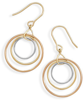 Graduated Three Ring Sterling Silver, 14 Karat Gold Plate and Rose Gold Plate French Wire Earrings