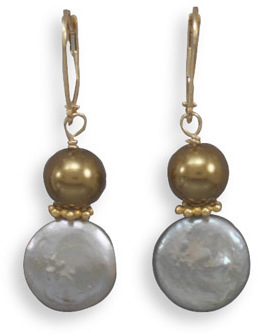 Glass Pearl and Cultured Freshwater Coin Pearl accented with 14K Gold Plated Beads 925 Sterling Silver