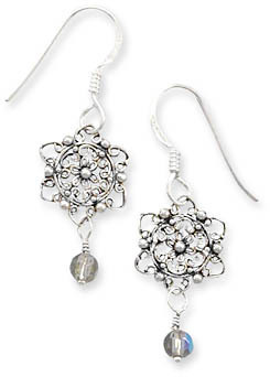 French Wire Earrings with Filigree Flower Design and Glass Bead Drop 925 Sterling Silver