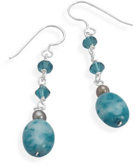 Dyed Blue Lace Agate, Cultured Freshwater Pearl and Swarovski Crystal French Wire Earrings 925 Sterling Silver