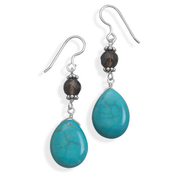 Dyed Magnesite and Smoky Quartz French Wire Earrings 925 Sterling Silver- DISCONTINUED