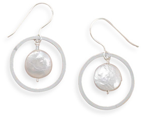 Open Circle French Wire Earrings with Coin Pearl Drop 925 Sterling Silver