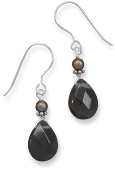 Brown Cultured Freshwater Pearl and Smoky Quartz Frenchwire Earrings 925 Sterling Silver