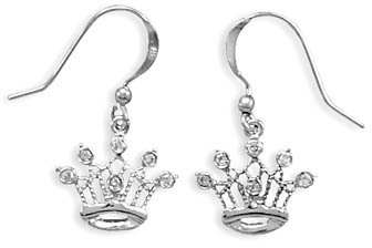 Rhodium Plated CZ Crown French Wire Earrings 925 Sterling Silver