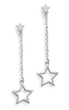 Rhodium Plated Cut Out Star Drop Earrings with Star Post 925 Sterling Silver - DISCONTINUED