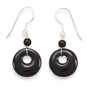 Black Onyx French Wire Earrings 925 Sterling Silver- DISCONTINUED