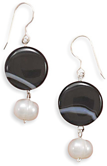 Banded Black Onyx and White Cultured Freshwater Pearl French Wire Earrings 925 Sterling Silver
