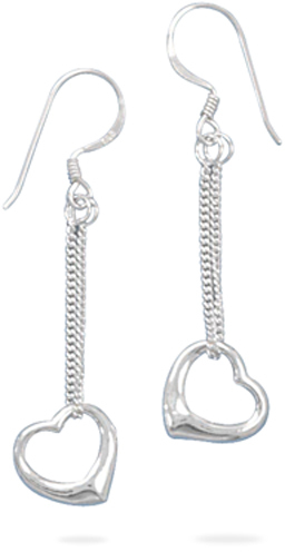 Chain Drop French Wire Earrings with Cut Out Hearts 925 Sterling Silver