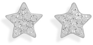 Star Stud Earrings with 11 Clear Crystals 925 Sterling Silver