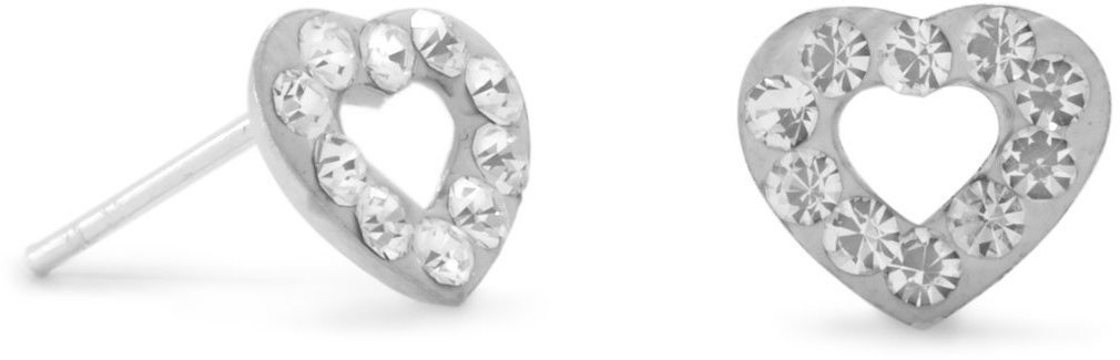 Heart Stud Earrings with 10 Clear Crystals 925 Sterling Silver