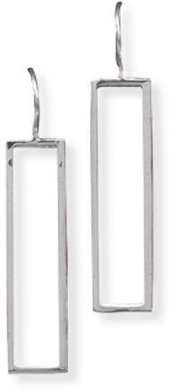 Cut Out Rectangle Wire Earrings 925 Sterling Silver