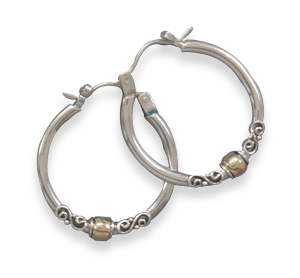 Polished Hoop with Bali Design and 14 Karat Gold Plate Bead 925 Sterling Silver - DISCONTINUED