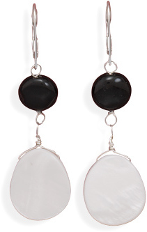 Black Onyx Coin Bead and Shell Lever Back Earrings 925 Sterling Silver