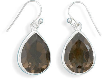 Smoky Quartz French Wire Earrings 925 Sterling Silver