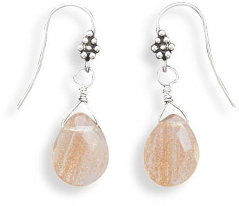 Oxidized Rutilated Quartz French Wire Earrings 925 Sterling Silver