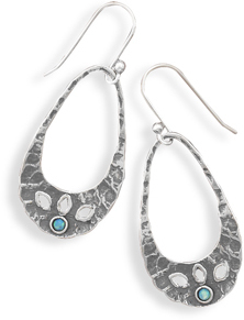 Hammered Silver and Synthetic Opal Earrings 925 Sterling Silver - DISCONTINUED