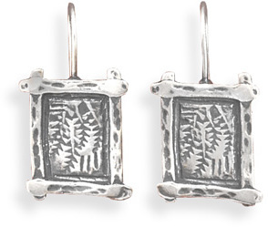 Oxidized Wire Earrings with Fern Design 925 Sterling Silver