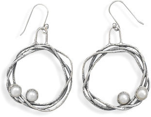 Oxidized Woven Open Circle with Cultured Freshwater Pearl Earring 925 Sterling Silver