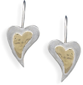 14 Karat Gold and Sterling Silver Heart Wire Earrings