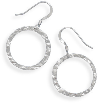 Round Textured French Wire Earrings 925 Sterling Silver