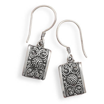 Oxidized Bead Design Earrings 925 Sterling Silver - DISCONTINUED