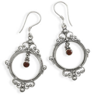 Ornate Garnet Drop Earrings 925 Sterling Silver - DISCONTINUED