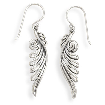 Ornate Angel Wing Earrings 925 Sterling Silver - DISCONTINUED