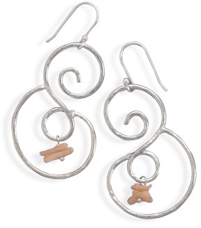 Polished Swirl with Coral Drop Earrings 925 Sterling Silver