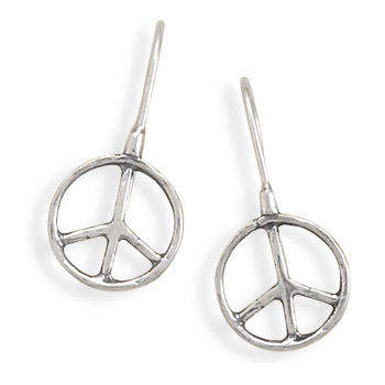 Oxidized Textured Peace Sign Earrings 925 Sterling Silver - DISCONTINUED