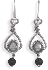 Oxidized Twist Earrings with Lava Bead Drop 925 Sterling Silver