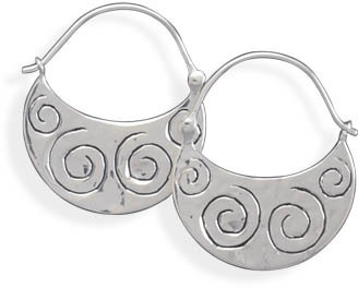 Polished Coil Design Hoop Earrings 925 Sterling Silver